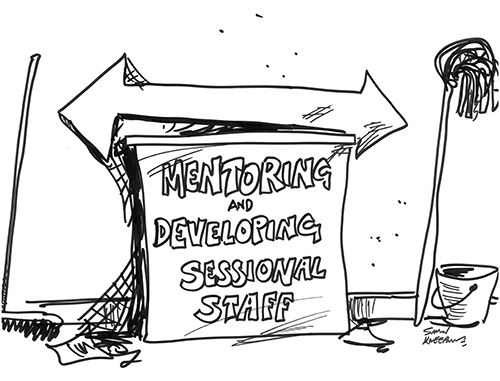 Hand-drawn image of a sign with the title Mentoring and Developing Sessional Staff. Used under the terms of the Creative Commons license.